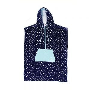 Ladies-Zip-Front-Hooded-Poncho-Navy